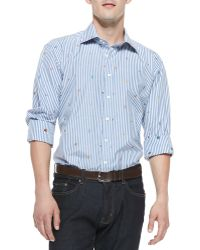 Etro Fish Embroidered Stripe Shirt - Lyst
