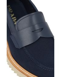 Prada Canvas & Leather Penny Loafers - Lyst