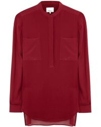 3.1 Phillip Lim Burgundy Silk Georgette Blouse - Lyst