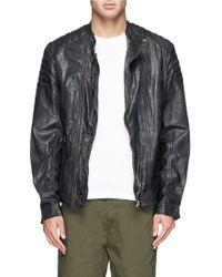 Scotch & Soda Wrinkled Leather Biker Jacket - Lyst