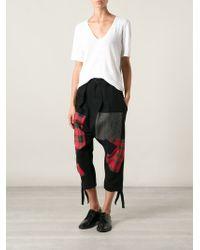 Yohji Yamamoto Patchwork Design Dropped Crotch Cropped Trousers - Lyst