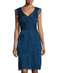 Adrianna Papell Iridescent Ruffle-tiered Cocktail Dress - Lyst