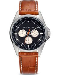 Ted Baker Multifunction Croc-embossed Leather Strap Watch 42mm - Lyst