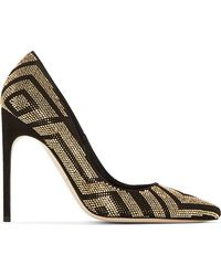 Brian Atwood Black and Gold Suede Perforated Alis Pump - Lyst