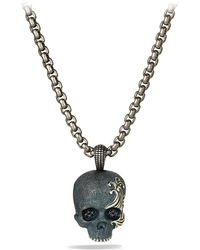 David Yurman Waves Skull Amulet with Black Diamonds and Black Titanium On Chain - Lyst