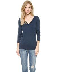 Splendid Fine V Neck Sweater - Lyst