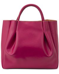 Alexandra De Curtis Pink Leather Maxi Ruched Tote pink - Lyst