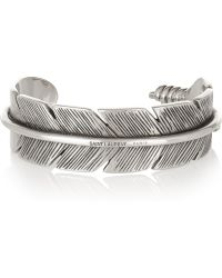 Saint Laurent Silver Feather Cuff - Lyst
