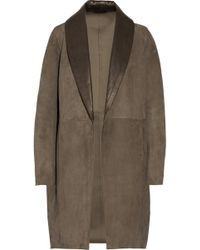 Victor Alfaro - Suede and Glossed-leather Coat - Lyst