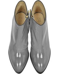 Zoe Lee | Eastwood Grey Patent Leather Ankle Boot | Lyst