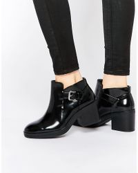 Pull&Bear - Patent Cut Out Boot - Lyst