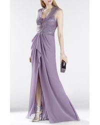 BCBGMAXAZRIA Brandy Sleeveless Lace-Bodice Gown - Lyst