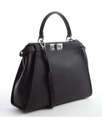 Fendi Black Leather Peekaboo Convertible Satchel - Lyst