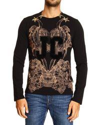 Roberto Cavalli - Just Cavalli Tshirt Long Sleeve Crewneck Flocked Logo - Lyst