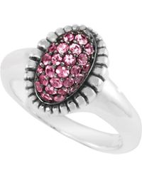 Lagos Small Pave Sapphire Oval Ring, Pink - Lyst