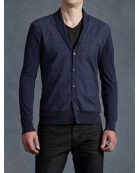 John Varvatos Shawl Collar Cardigan - Lyst