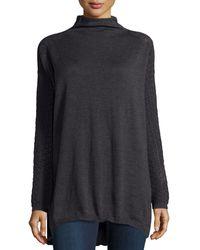 Philosophy di Alberta Ferretti Mock-collar Textured Sleeve Sweater - Lyst