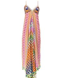 Camilla Zigzagprint Beaded Maxi Dress - Lyst