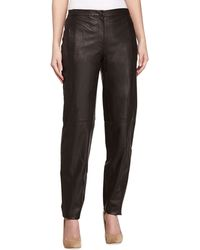 Halston Heritage Slouchy Leather Trousers brown - Lyst
