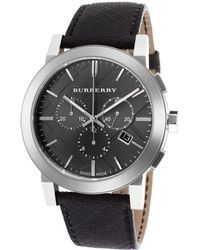 Burberry Mens The City Chronograph Charcoal Beat Check Pvc Gunmetal Dial - Lyst