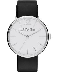 Marc By Marc Jacobs Peggy Stainless Steel & Leather Strap Watch/Black - Lyst