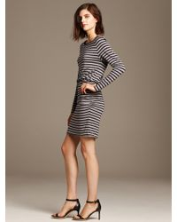 Banana Republic Gray Stripe Shirred Dress - Lyst
