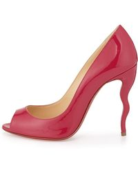 Christian Louboutin Jolly Patent Squiggle-Heel Red Sole Pump - Lyst