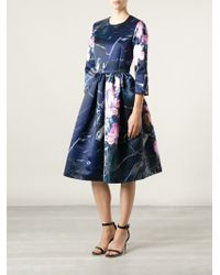 MSGM Flower Printed Flared Dress - Lyst