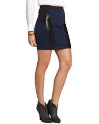 David Lerner - Navy And Black Embossed Lambskin Leather Skirt - Lyst