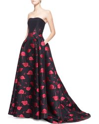 Carolina Herrera Floralembroidered Strapless Ball Gown - Lyst