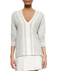 Vince Cashmere Two-Tone V-Neck Sweater - Lyst