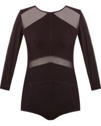 Giuliana Romanno - Tulle Panel Bodysuit - Lyst