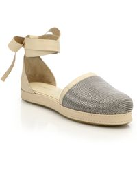 Stuart Weitzman | Buzzy Chain Leather Ankle Wrap Flats | Lyst
