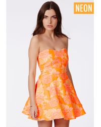 Missguided Adriana Bandeau Skater Dress In Floral Print - Lyst