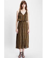 Saint Laurent Leopard Print Silk Midi Dress - Lyst