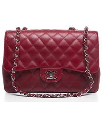 Chanel Pre-Owned Red Caviar Jumbo Flap Bag - Lyst