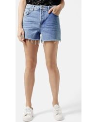 Topshop Moto 'Ashley' Bleached Cutoff Shorts blue - Lyst