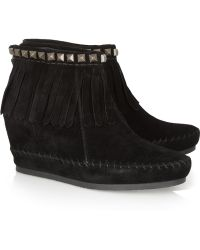 Ash - Squaw Fringed Suede Wedge Ankle Boots - Lyst