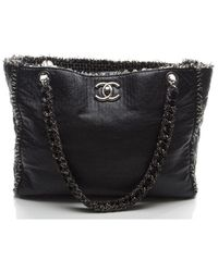 Chanel Preowned Black Lambskin Tweed Tote Bag - Lyst