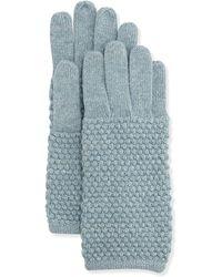 Portolano Pearl-Stitch Metallic Knit Gloves teal - Lyst