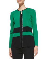 Misook Long Stripe Knit Jacket - Lyst