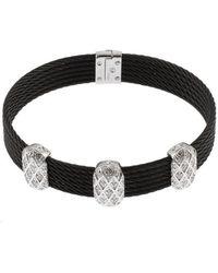 Charriol 18K White Gold Black Ion Plated Stainless Steel Diamond Bracelet - Lyst