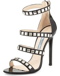 Prada Studded Strappy Patent Cage Sandal - Lyst