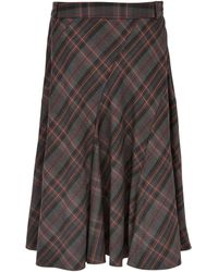 Cc Burgundy Check Skirt - Lyst