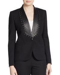 Emilio Pucci Wool Leather-Stitch Blazer - Lyst