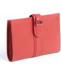 Longchamp Red Leather Bifold Snap Closure Wallet - Lyst