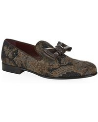 Dolce & Gabbana Leather Bow Brocade Slipper Shoe - Lyst