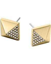 Michael Kors Golden Pave Pyramid Earrings - Lyst