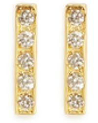 Jennifer Meyer 18K Gold Bar Diamond Earrings - Lyst