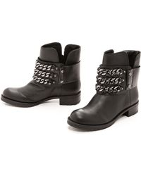 DKNY Mara Biker Boots with Chain  Blackgunmetal - Lyst